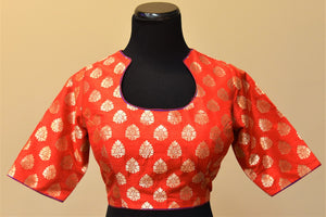 Shop this ethnic Indian banarasi silk embroidered designer blouse online or from our store in Edison. Long sleeved blouse is perfect for any wedding or reception. Benarasi Silk.