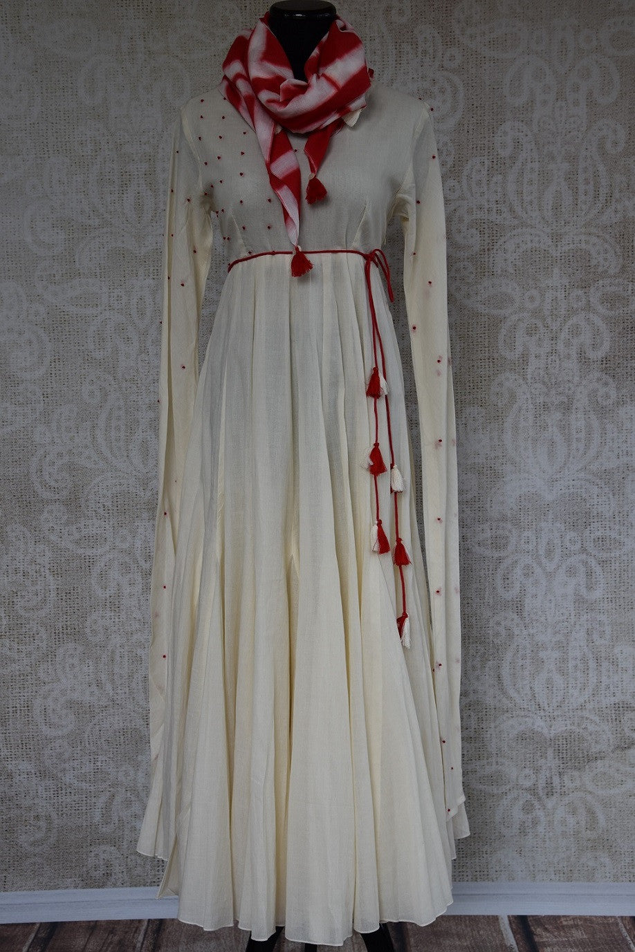 Buy this ethnic Indian Pure Elegance white cotton dress with red dupatta online or from our store in Edison near NJ. It is perfect for any wedding or reception. Front View.