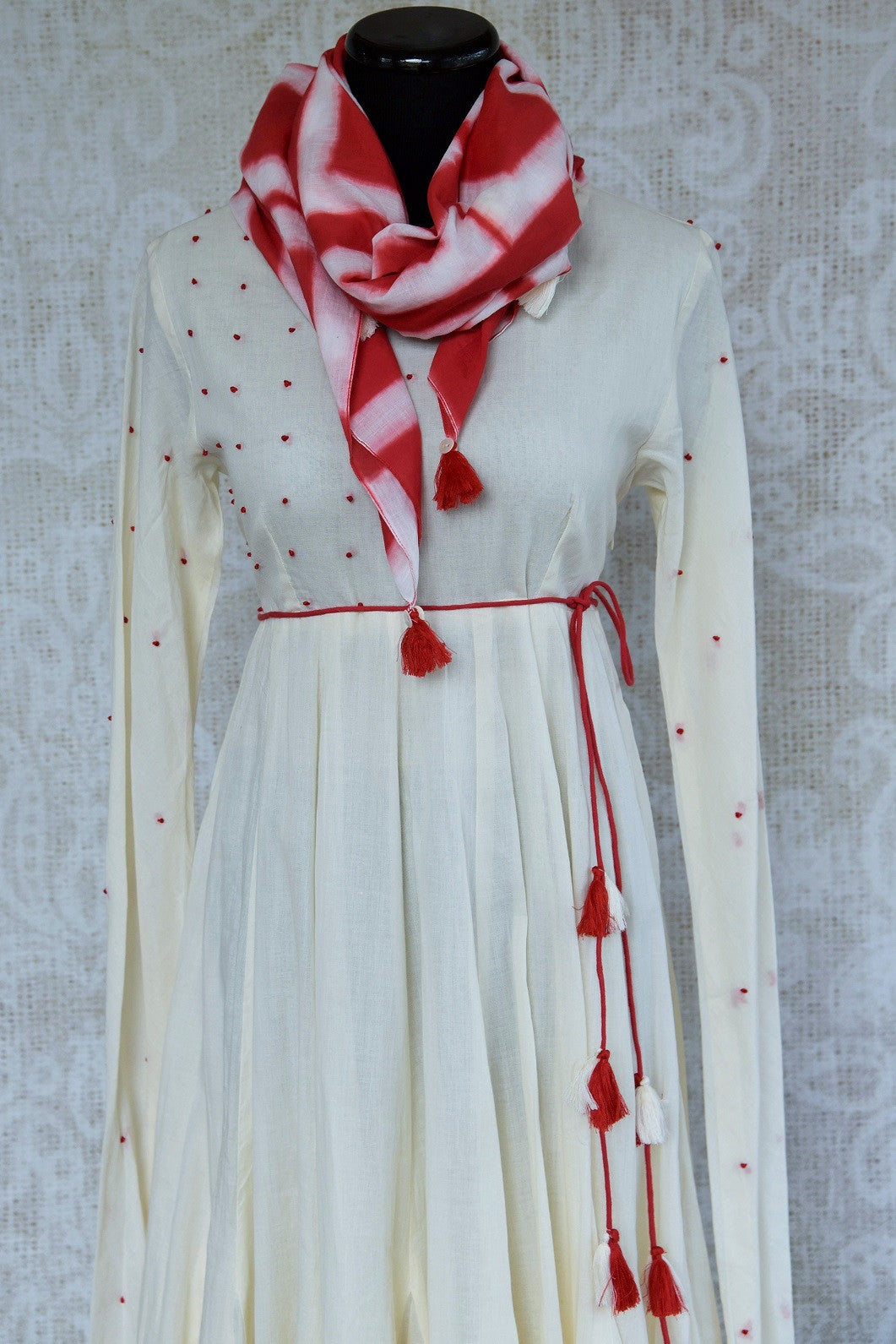 Buy this ethnic Indian Pure Elegance white cotton dress with red dupatta online or from our store in Edison near NJ. It is perfect for any wedding or reception. Red Dupatta.