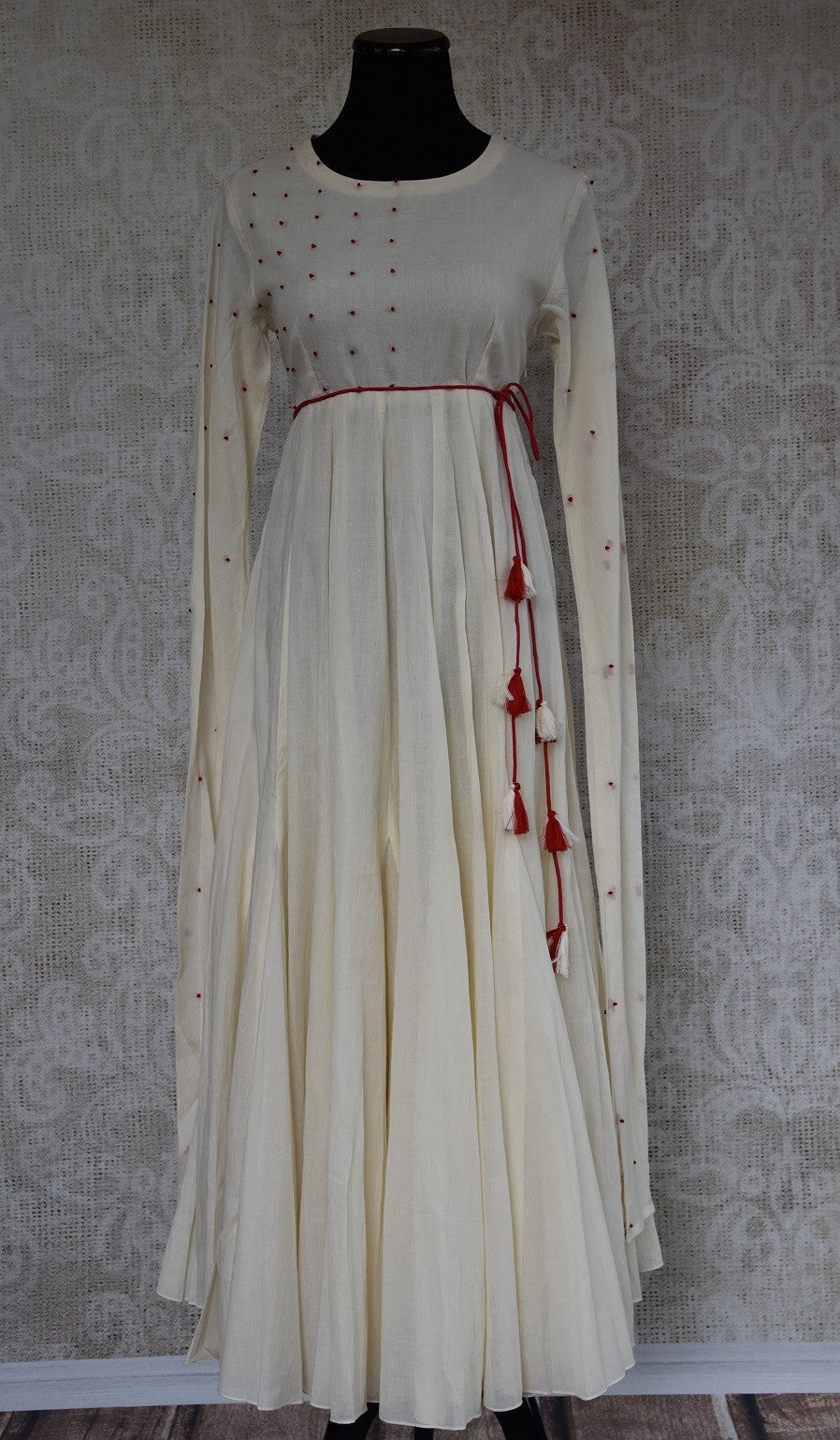 Buy this ethnic Indian Pure Elegance white cotton dress with red dupatta online or from our store in Edison near NJ. It is perfect for any wedding or reception. Full View.