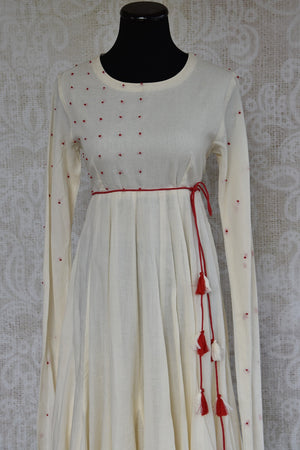 Buy this ethnic Indian Pure Elegance white cotton dress with red dupatta online or from our store in Edison near NJ. It is perfect for any wedding or reception. Close up.