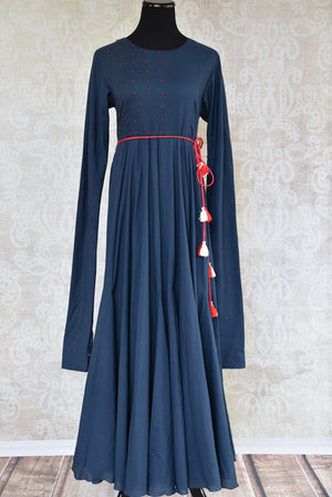 Buy the Indian Ethnic Malmal cotton navy blue full-length Anarkali kurta online or from our Pure Elegance store in USA. Ideal for any sangeet or birthday party. Front View.