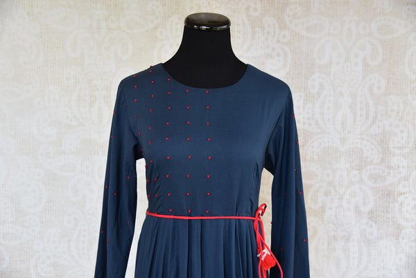 Buy the Indian Ethnic Malmal cotton navy blue full-length Anarkali kurta online or from our Pure Elegance store in USA. Ideal for any sangeet or birthday party. Close up.