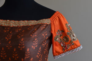 Shop this Indian traditional Cotton Silk Printed Blouse with Silk Sleeves online or Pure Elegance store in USA. It is ideal for any wedding or reception party. Close up.