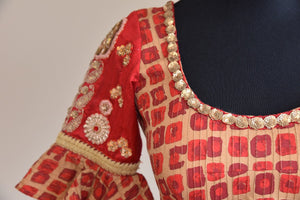 Shop ethnic Indian cotton silk designer blouse having sequin embroidery online from Pure Elegance store online or from our store in USA. Ideal for any wedding. Close up.