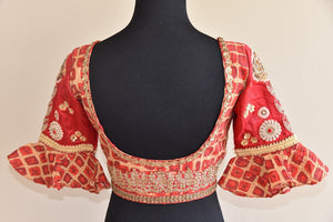 Shop ethnic Indian cotton silk designer blouse having sequin embroidery online from Pure Elegance store online or from our store in USA. Ideal for any wedding. Back View.