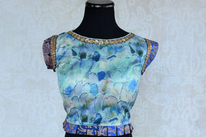 Blue ethnic crepe silk banarasi designer blouse is ideal for any wedding or baby shower. Shop it online as well as in the pure elegance store in Edison, near NJ. Crop Top Blouse.