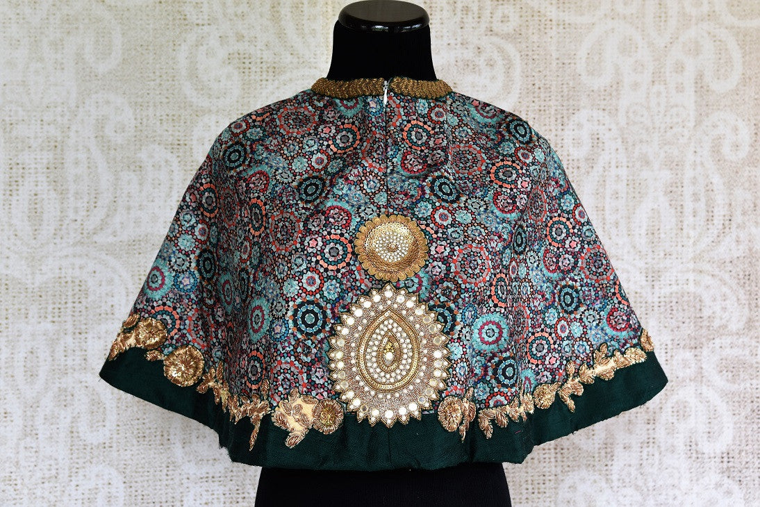 Buy Embroidered Designer Saree Blouse online in green color and poncho style. A collection of stylish Indian Designer Saree Blouses online at Pure Elegance store. -back