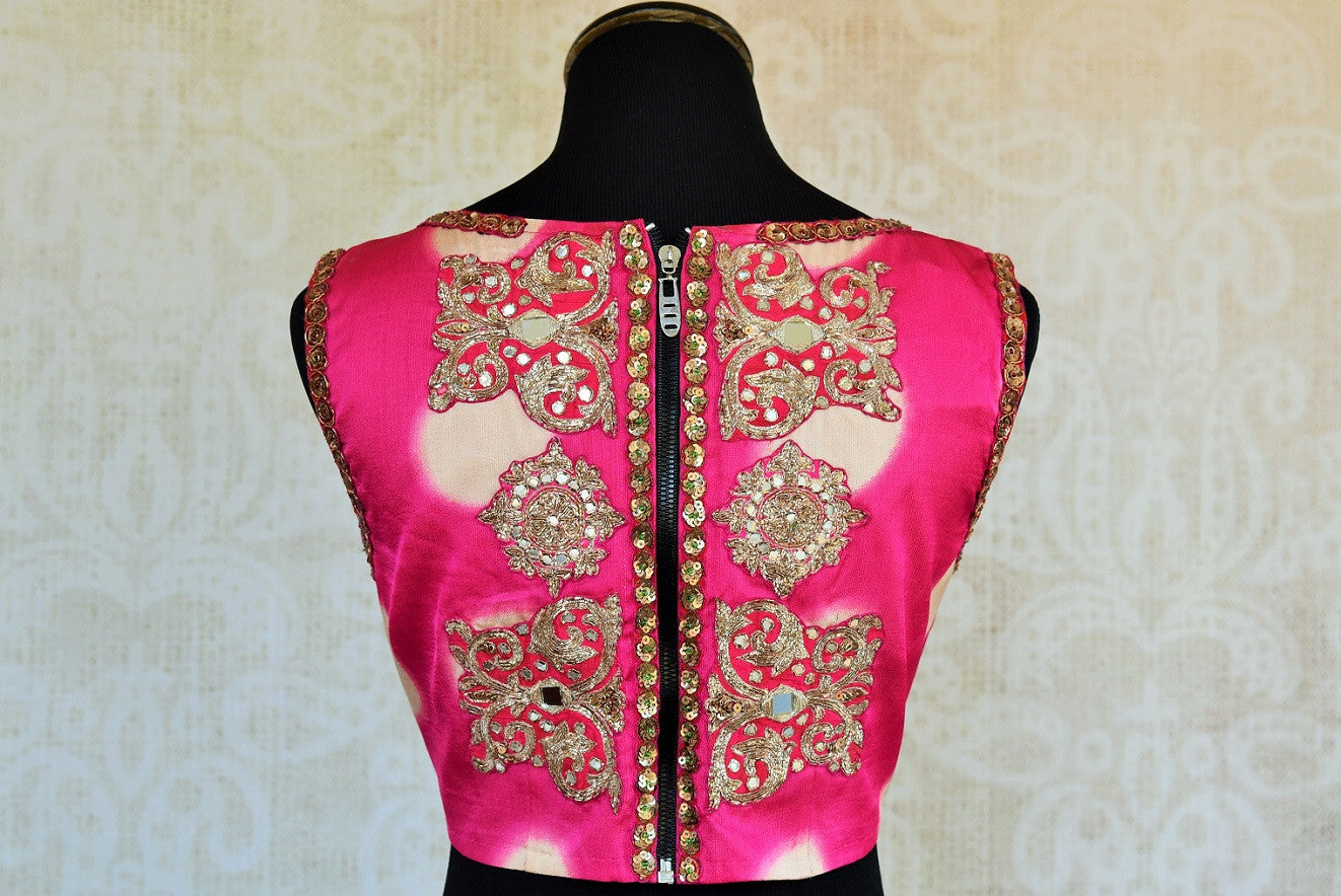 Buy this Indian ethnic embroidered crepe silk and satin designer blouse from Pure Elegance store in Edison and online. Perfect for any sangeet or wedding party. Back View.