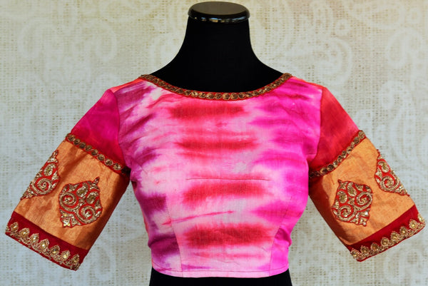 Shop the Indian ethnic pink tie died embroidered designer blouse from our Pure Elegance store in USA and online. It is perfect for any wedding or baby shower. Front View.