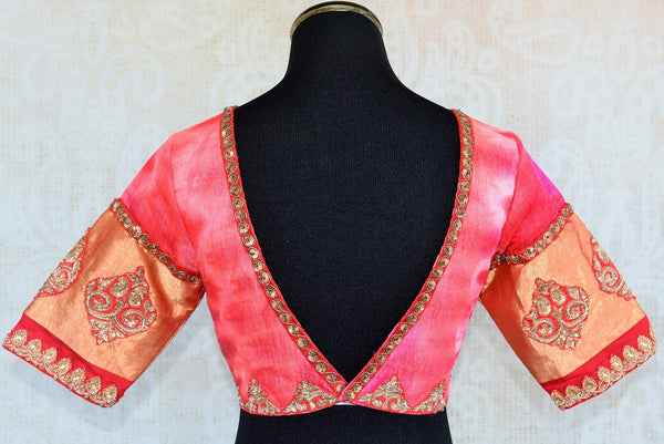 Shop the Indian ethnic pink tie died embroidered designer blouse from our Pure Elegance store in USA and online. It is perfect for any wedding or baby shower. Deep Neck.