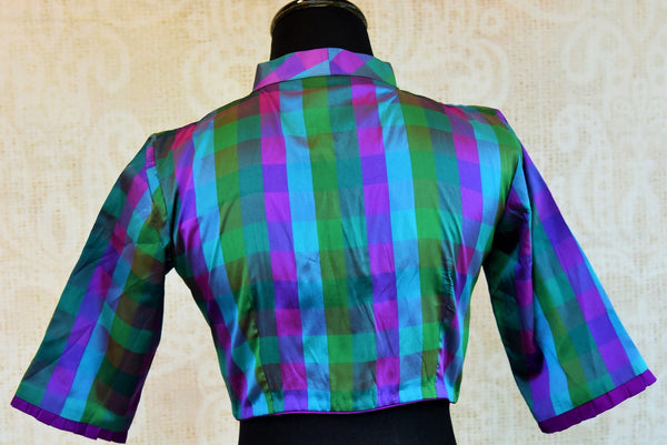 Shop the Indian traditional designer blouse from Pure Elegance store in Edison or online. Ideal for any wedding or reception. Long Sleeves Blue and Green Checks. Back View.