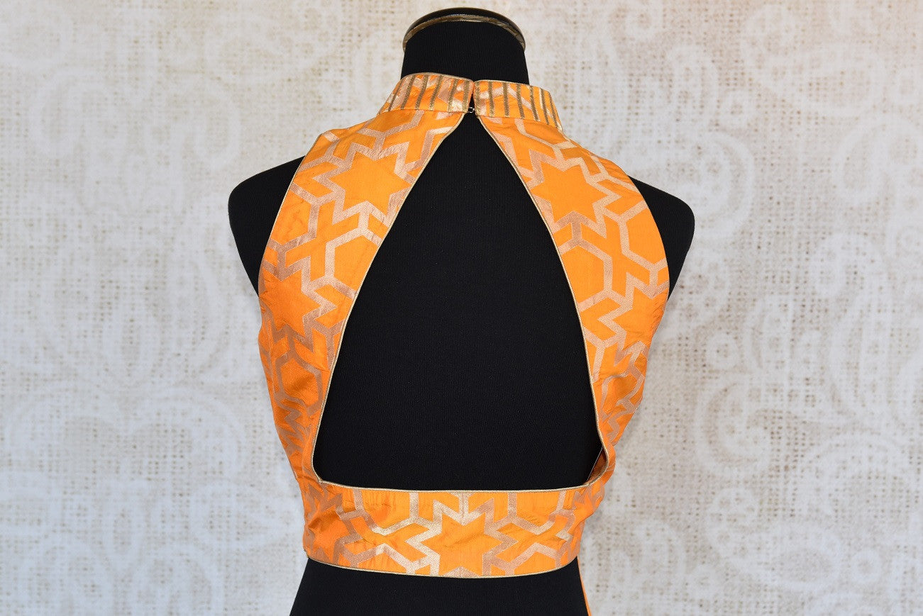 Buy this Indian ethnic traditional halter neck sleeveless benarasi blouse from Pure Elegance store in Edison in USA online. Perfect for any wedding or reception. Back Slit.