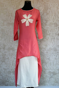 Shop this tail cut malmal cotton Indian Traditional dress online or from our Pure Elegance store in Edison. It is perfect for any wedding or reception party. Front View.