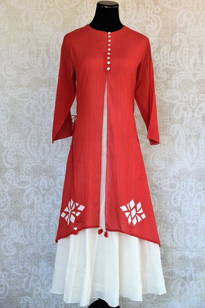 Shop this Indian traditional layered Indo-western dress that makes it perfect for any wedding or reception party online or from our Pure Elegance store in USA. Front View.