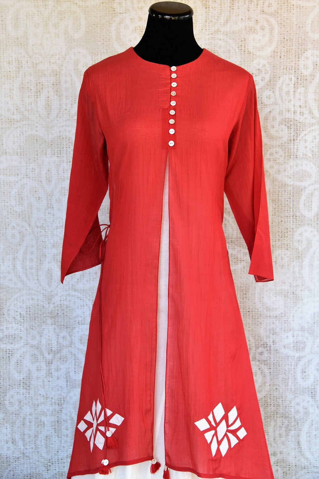 Shop this Indian traditional layered Indo-western dress that makes it perfect for any wedding or reception party online or from our Pure Elegance store in USA. Red and White.