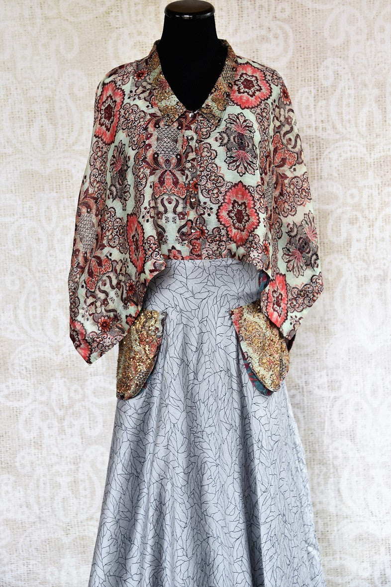 Buy silk cotton Indo western dress with floral top and printed grey skirt online. Ideal for any wedding or reception. Available at our Pure Elegance store in USA. Close up.