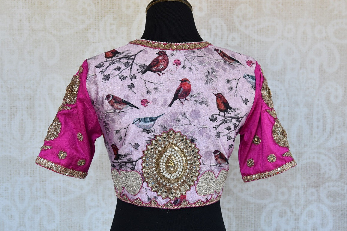 Buy this Indian traditional multi-color embroidered banarasi blouse from Pure Elegance online or from our store in USA. perfect for any puja or reception party.  Back View.