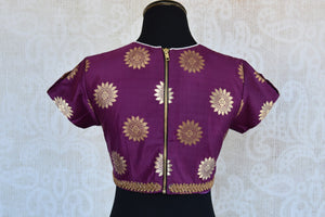Buy this Indian traditional banarasi silk embroidered blouse from Pure Elegance online or from our store in USA. It is perfect for any wedding or reception party. Back View.