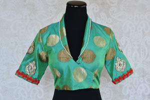 Buy this Indian traditional embroidered high neck designer blouse from Pure Elegance online or from our store near NYC. Ideal for any sangeet or reception party. Front View.