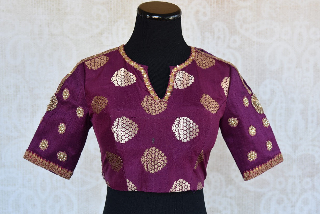 Buy this traditional Indian banarasi silk purple embroidered blouse ideal for any wedding or puja from Pure Elegance online or from our store in Edison near NJ. Front View.