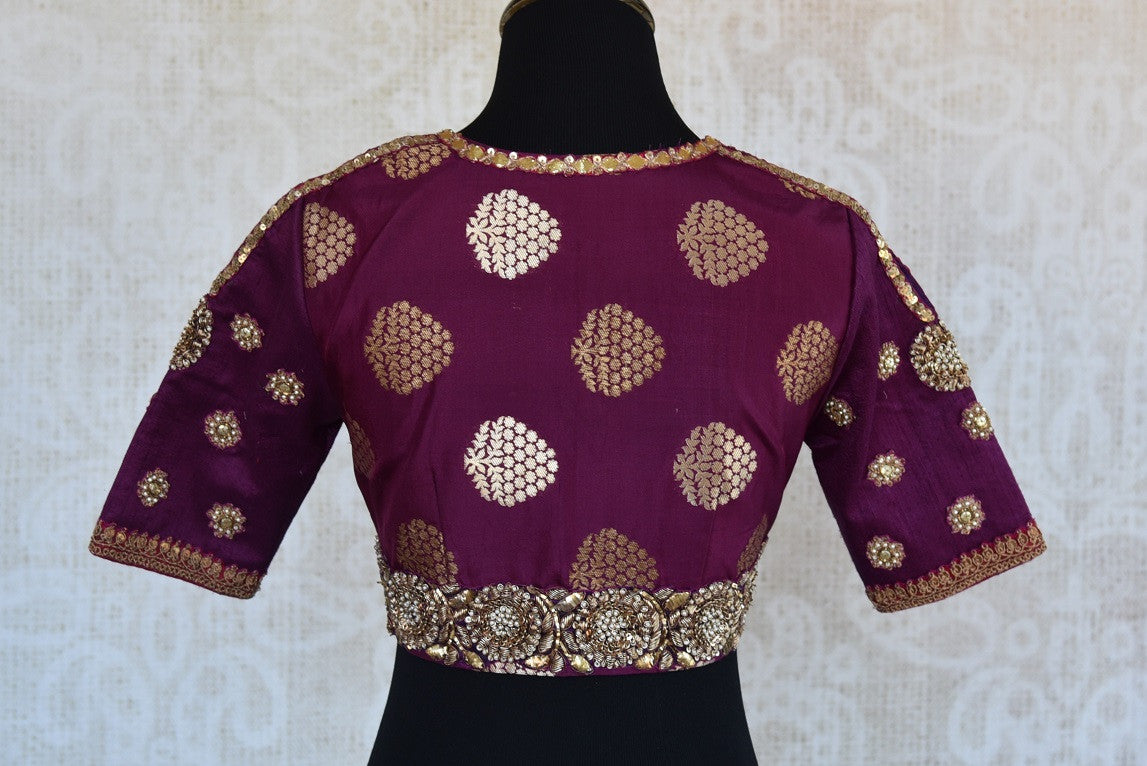 Buy this traditional Indian banarasi silk purple embroidered blouse ideal for any wedding or puja from Pure Elegance online or from our store in Edison near NJ. Back View.