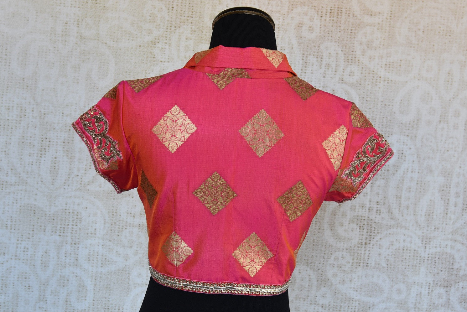 Shop this traditional Indian embroidered banarasi designer blouse from Pure Elegance online or from our store in USA. Perfect for any wedding or reception party. Back View.