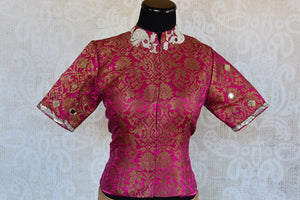 Shop this Indian ethnic pink embroidered banarasi blouse from Pure Elegance online or from our store in Edison near NJ. Ideal for any wedding party or reception. Front View.