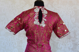 Shop this Indian ethnic pink embroidered banarasi blouse from Pure Elegance online or from our store in Edison near NJ. Ideal for any wedding party or reception. Close up.