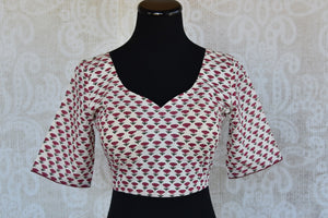 Shop this Indian traditional printed cotton blouse from Pure Elegance online or from our store in Edison, near NJ. It is perfect for any wedding or sangeet party. Front View.