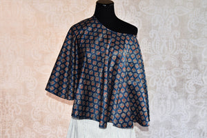Buy the Indian ethnic pure silk cape and skirt with Ajrakh print online or from our Pure Elegance store in USA. The dress is perfect for any wedding or reception. Top View.