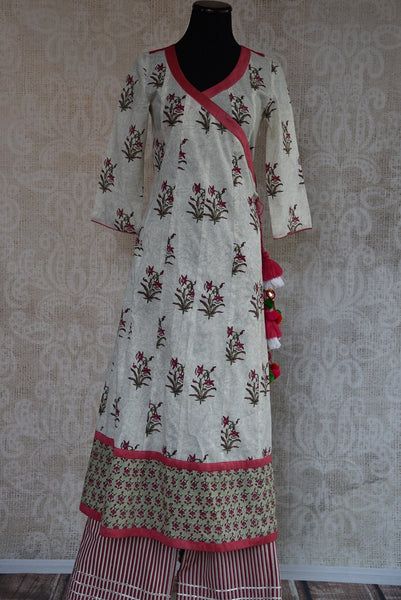 Buy this traditional Indian cotton kurta plazzo set online or from our Pure Elegance store in Edison. Indo Western perfect for any wedding or engagement party. Top View.