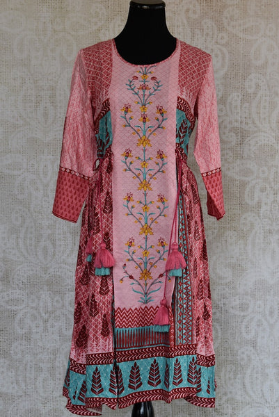 Shop this traditional Indian cotton silk printed kurti online or from our Pure Elegance store in USA. We bring you stylish Indian dresses online for every occasion. Front View.