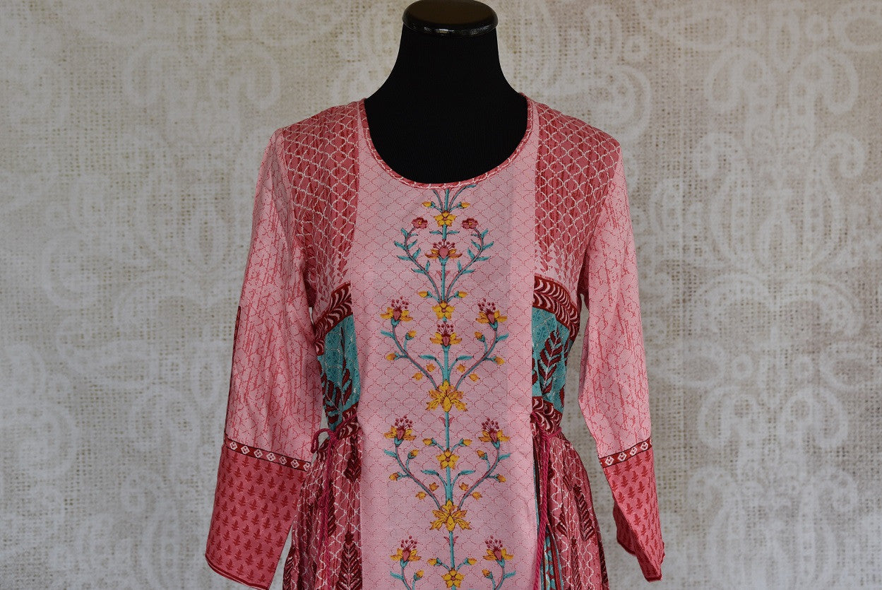 Shop this traditional Indian cotton silk printed kurti online or from our Pure Elegance store in USA. We bring you stylish Indian dresses online for every occasion. Top View.