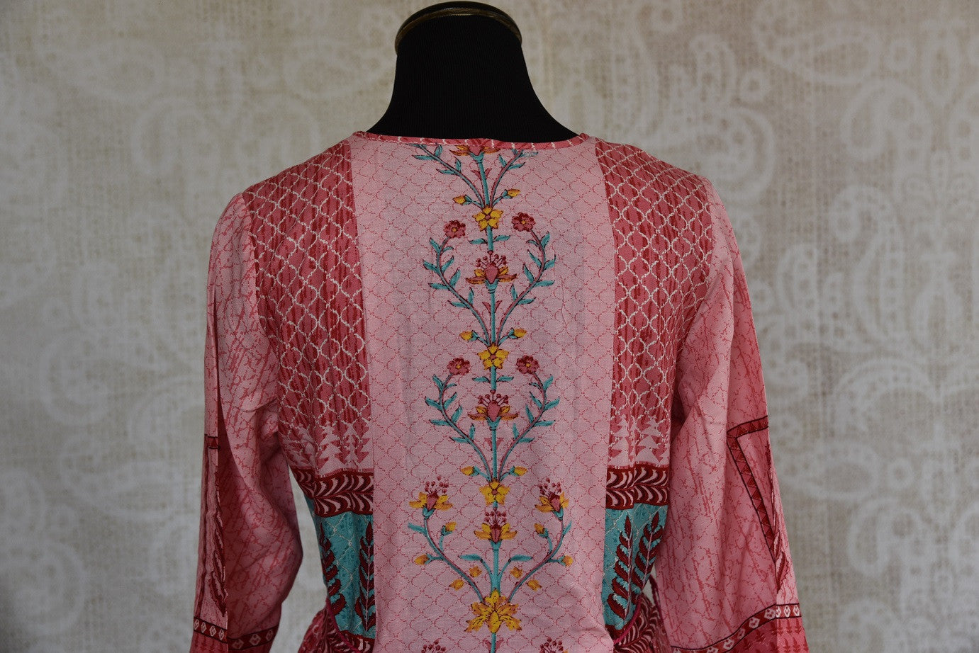 Shop this traditional Indian cotton silk printed kurti online or from our Pure Elegance store in USA. We bring you stylish Indian dresses online for every occasion. Back View.