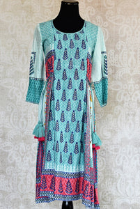Buy traditional blue cotton silk printed dress online or from our Pure Elegance store in USA. We bring you a range of latest Indian dresses online for every occasion.-Front View.