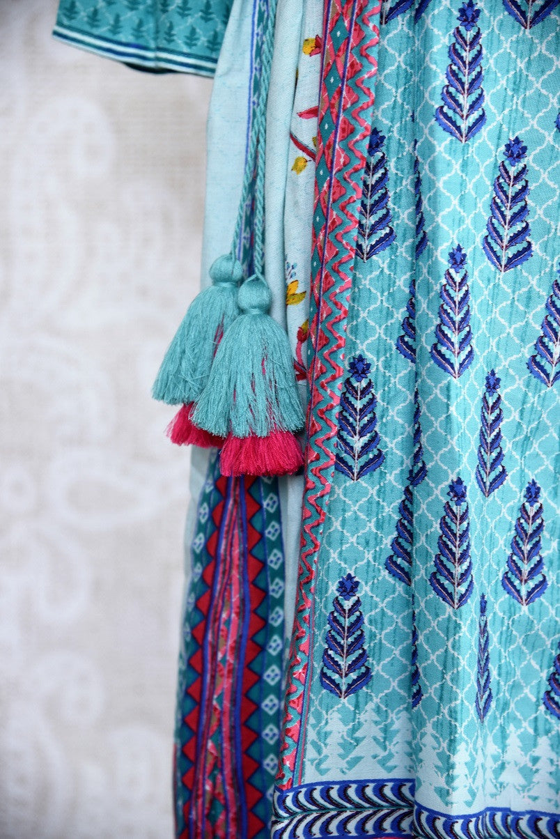 Buy traditional blue cotton silk printed dress online or from our Pure Elegance store in USA. We bring you a range of latest Indian dresses online for every occasion.-Close up.