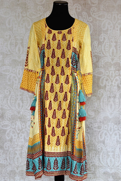 Buy this ethnic yellow cotton silk printed dress online or from our Pure Elegance store in Edison near NJ. We bring you stylish Indian dresses online in USA for every occasion. Front View.