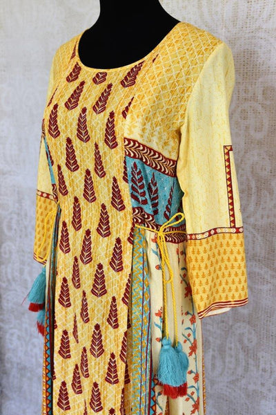 Buy this ethnic yellow cotton silk printed dress online or from our Pure Elegance store in Edison near NJ. We bring you stylish Indian dresses online in USA for every occasion.-top close up