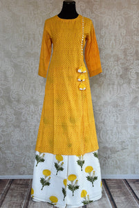 401966, 401966 Traditional Indian Pure Elegance Yellow Cotton Kurta Plazzo Set. Front View.