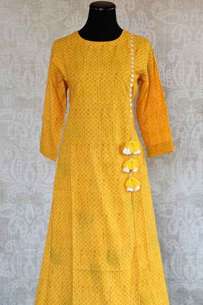 401966, 401966 Traditional Indian Pure Elegance Yellow Cotton Kurta Plazzo Set. Top View.