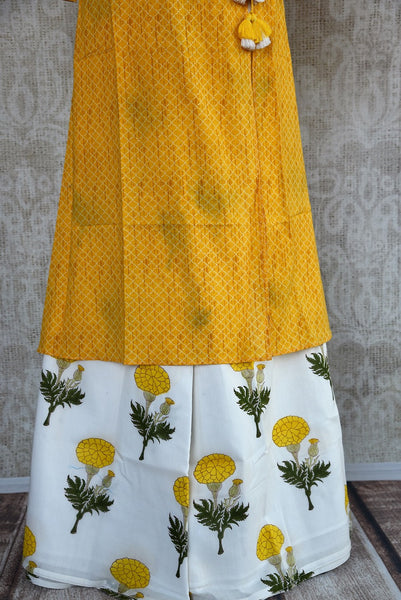 401966, 401966 Traditional Indian Pure Elegance Yellow Cotton Kurta Plazzo Set. White Plazzo.