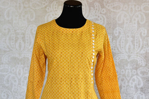 401966, 401966 Traditional Indian Pure Elegance Yellow Cotton Kurta Plazzo Set. Yellow Kurta.