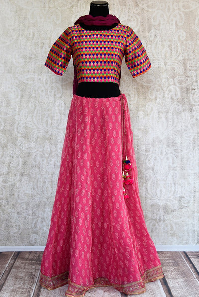 401968, Ethnic Indian cotton skirt with benarasi crop top and crushed duppata set is available at the Pure Elegance store in USA or online. Perfect for any wedding or reception. Front View.
