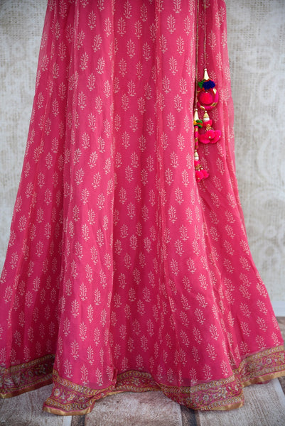 401968, Ethnic Indian cotton skirt with benarasi crop top and crushed duppata set is available at the Pure Elegance store in USA or online. Perfect for any wedding or reception. Pink Skirt.