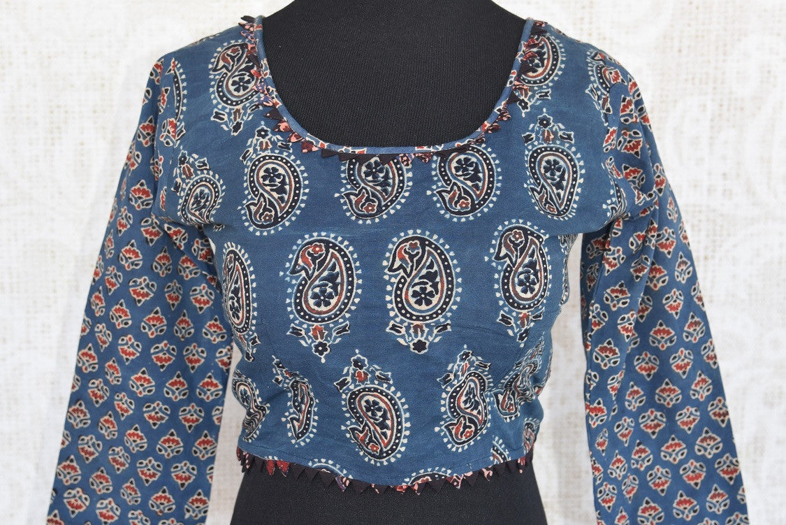 Buy this Indian ethnic full sleeved cotton designer blouse with ajrakh print online or from our Pure Elegance store in USA. Perfect for any wedding or reception. Front View.