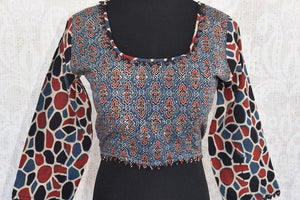 Shop this Indian traditional multicolored cotton blouse with ajrakh print online or from our store in Edison. It is perfect for any wedding or reception party. Front View.