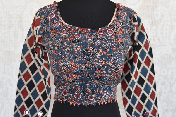 Shop this traditional Indian blue and red cotton designer blouse from Pure Elegance online or from our store in USA. Ideal for any wedding or reception party. Front View.