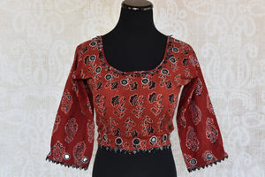 401999 Cotton Blouse with Long Sleeves and Beautiful Ajrakh Print