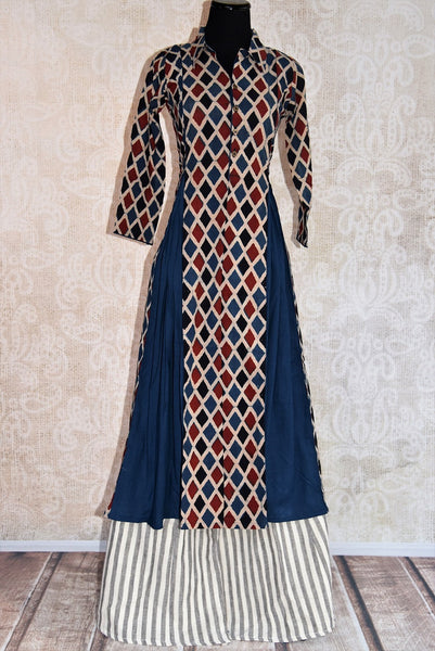 402012, shop this traditional Indian cotton dress with ajrakh print from Pure Elegance online or from our store in Edison, near NJ. Perfect for any wedding or reception. Top View.